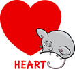 heart shape with cartoon mouse