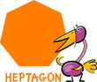 heptagon shape with cartoon bird