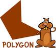 polygon shape with cartoon hamster