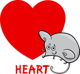 heart shape with cartoon mouse