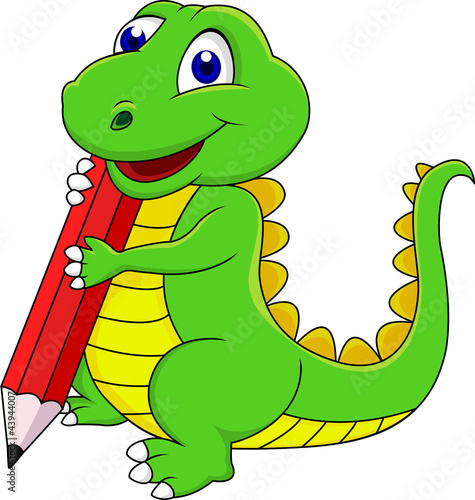 Foto op Canvas Dinosaurs Happy dinosaur cartoon writing with pencil