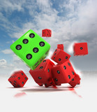 group of ahead rolling red dices with one winning green