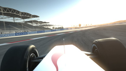 F1 race car on desert circuit - driver's POV