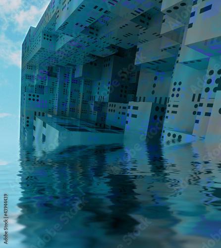 Keuken foto achterwand Schip blue sunked modern city observation spaceship