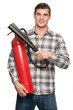 Man with extinguisher