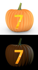 Number 7 carved on pumpkin jack lantern