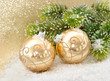 golden balls with christmas tree branch