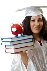 Saving for studies concept on white