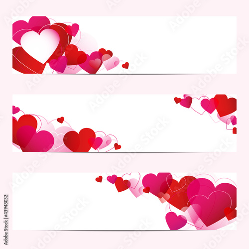 3 Abstract Heart Banner Red/Pink