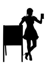 Silhouette of a bavarian woman holding a pint of beer next to a