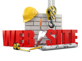 Web site building. Crane, wall and tools. 3d