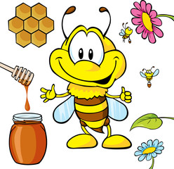 funny bee cartoon with honey