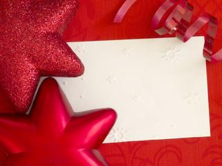 white decorative note in red arrangement