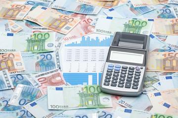Money, calculator and graphs