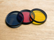 camera lens filter set blue red yellow