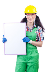 Woman builder with blank board