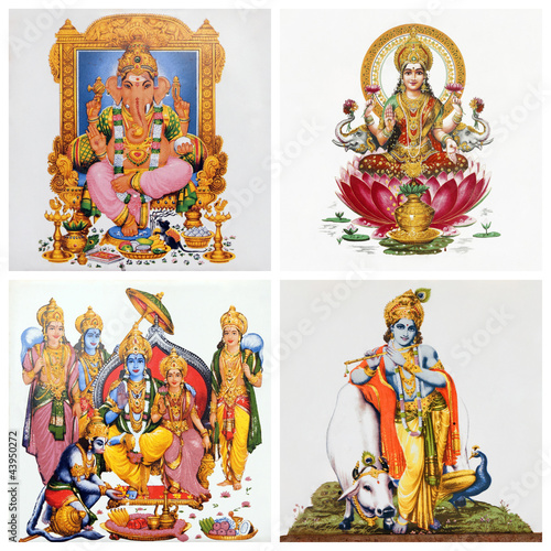 set of antique tiles with images of hindu gods: ( Gansha, Lakshm