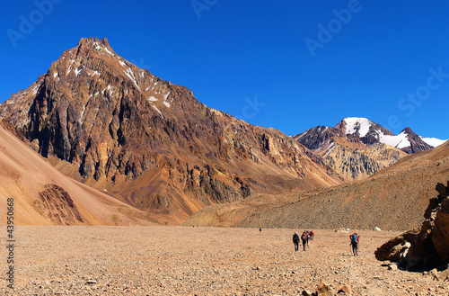 Hikers trekking in Andes, Argentina, South America
