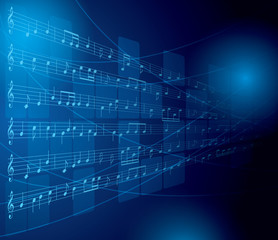 blue musical background with notes and squares - vector