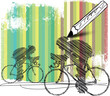 abstract bikers with colorful background. vector illustration