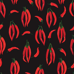 seamless pattern with peppers on black background, Print