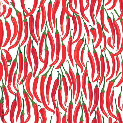 seamless pattern with peppers on white background, Print
