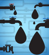 Oil drops and black pipeline