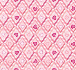 seamless pattern with heards in lilac and pink diamons