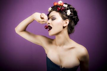 Beauty portrait woman with cherries