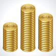 Dollars money coins graph in perspective vector design elements