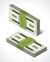 Dollars money isometric perspective vector design elements