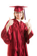 Female Graduate Thumbs Up