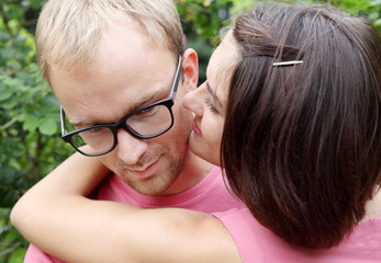Young Couple Man and Woman Embracing