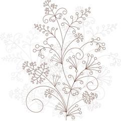 Vector flower design, grassy ornament