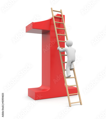 3d white man climb to success