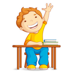 vector illustration of school boy sitting on table