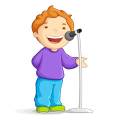 vector illustration of school boy singing in mike