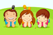 vector illustration of kids laying on field