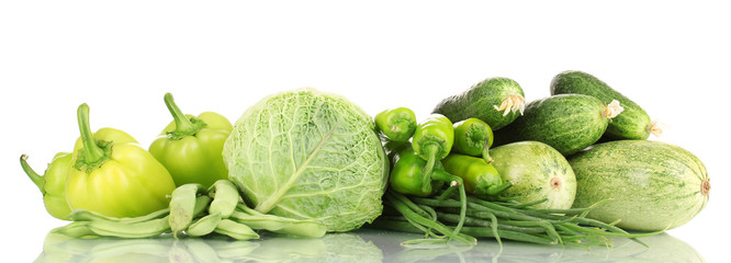 fresh green vegetables isolated on white