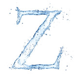 "Water splashes letter ""Z"" isolated on white background"