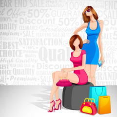 vector illustration of women with shopping bag