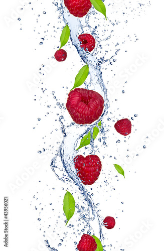 Fresh raspberries falling in water splash