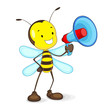 vector illustration of bee announcing through megaphone