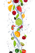 Fresh fruits falling in water splash