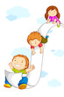 vector illustration of kids sliding on paper in sky