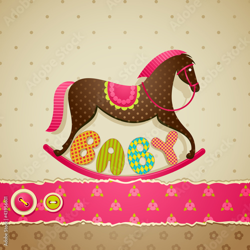 vector illustration of baby shower background with rocking horse