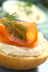 Smoked salmon and cream cheese canape with dill