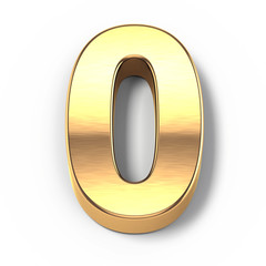 3d Gold metal numbers - number 0