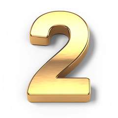 3d Gold metal numbers - number 2