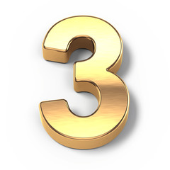 3d Gold metal numbers - number 3